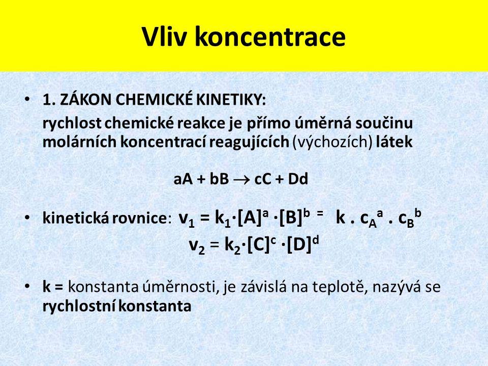Vliv koncentrace v2 = k2·[C]c ·[D]d 1. ZÁKON CHEMICKÉ KINETIKY: